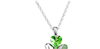 18k Gold-Plated Austrian Crystal Shamrock Clover Pendant Necklace Afterglow Jewelry